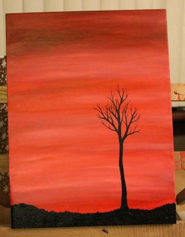 Wax On Acrylic Painting