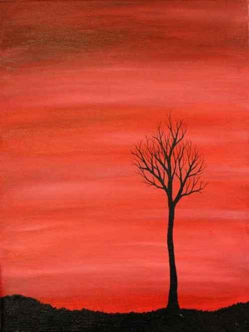 tree silhouette painting 6