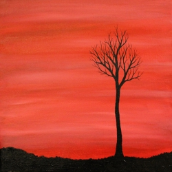Simple How To Create Tree Silhouette Paintings Using Acrylics With Couple Sunset Painting