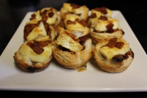 cranberry bacon and brie puffs